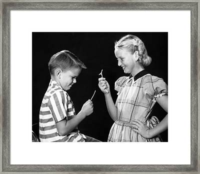 Wish Bone Framed Print by Archive Photos