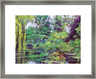 Wisteria Bridge Giverny Framed Print by David Lloyd Glover