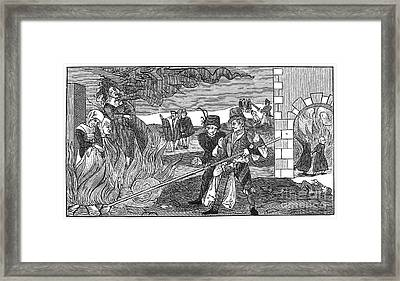 Witch Burning, 1555 Framed Print