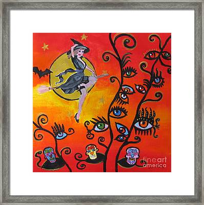 Witching And Watching Framed Print by Diana Riukas