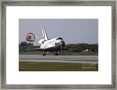 With Drag Chute Unfurled, Space Shuttle Framed Print by Stocktrek Images
