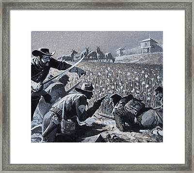 With His Men Concealed Fetterman Waited For The Marauding Indians Framed Print by Severino Baraldi