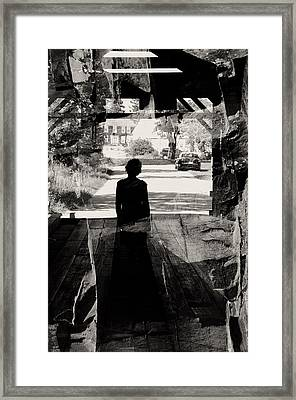 Within A Covered Bridge Framed Print