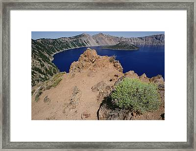 Wizard Island And Lake Shore, Mt Framed Print by Gerry Ellis