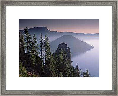 Wizard Island In The Center Of Crater Framed Print by Tim Fitzharris