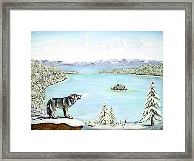 Wolf At Lake Tahoe Framed Print by Jerome Stumphauzer