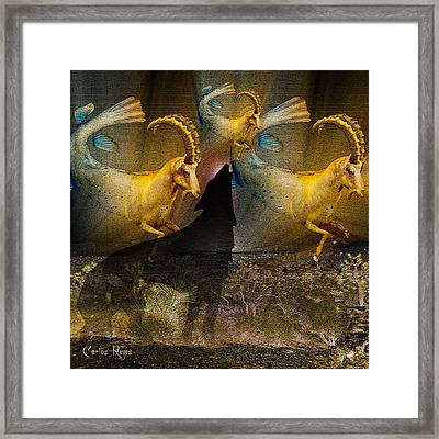 Wolf Cries Capricorn Save Our Desert Framed Print by Carlos Reyes