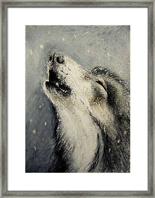Framed Print featuring the drawing Wolf Cry...... Miniature by Lynn Hughes