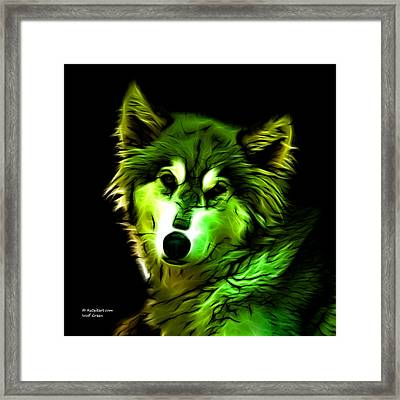 Wolf - Green Framed Print