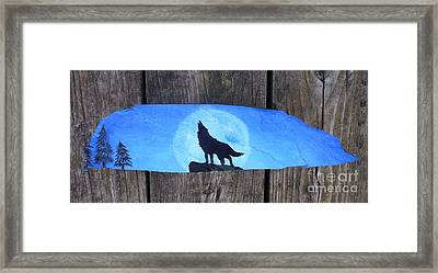 Wolf Howl1 Framed Print by Monika Shepherdson
