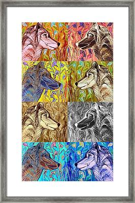 Framed Print featuring the digital art Wolf Views by Mary Schiros