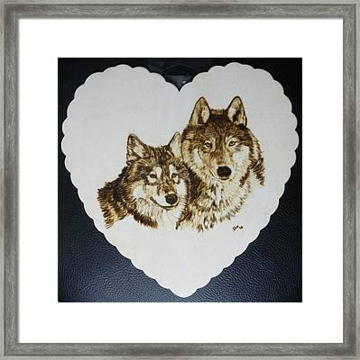 Wolves Pyrographic Wood Burn Heart Original 7.5 X 7.5 Inch Framed Print by Shannon Ivins