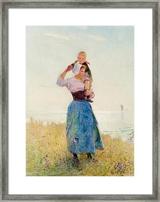 Woman And Child In A Meadow Framed Print
