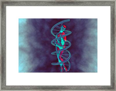 Woman And Dna Framed Print