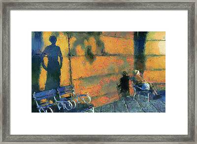 Woman And Shadows Framed Print by Odon Czintos