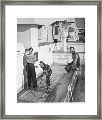 Woman And Two Men On Cruiser Deck, (b&w), Elevated View Framed Print by George Marks