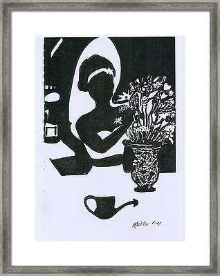 Woman Arranging Flowers 1 Framed Print by Rhetta Hughes