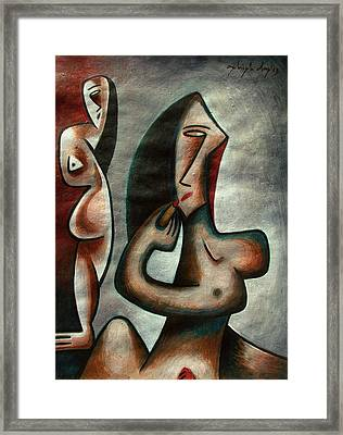 Woman Before Dressing Table Framed Print by Ashish Das