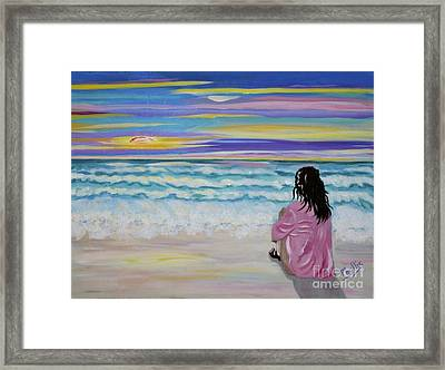 Woman By The Sea Framed Print by Phyllis Kaltenbach