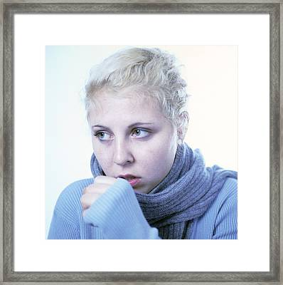 Woman Coughing Framed Print by Cristina Pedrazzini