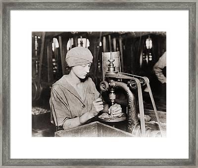 Woman Countersinking A Detonator Tube Framed Print by Everett
