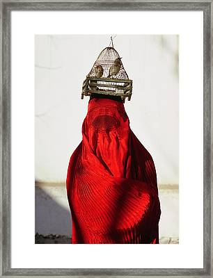 Woman Draped In Red Chadri Carries Framed Print