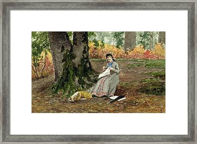 Woman Embroidering Under A Tree  Framed Print