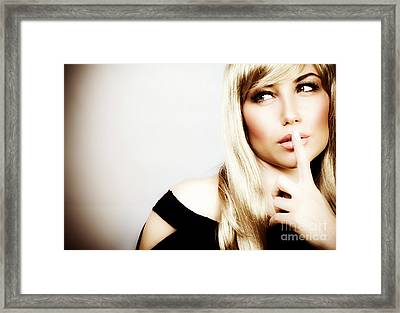 Woman Expressions Hush Framed Print by Anna Om
