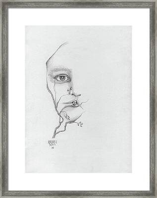 Woman Face Growing Out Of A Tree Branch Black And White Surrealistic Fantasy  Framed Print by Rachel Hershkovitz