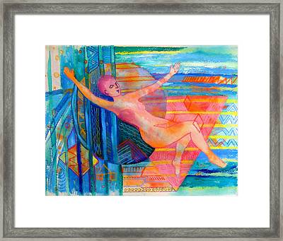 Woman Floating In Space Framed Print