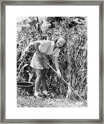Woman Hoeing In Field Of Corn Framed Print by George Marks