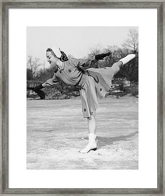 Woman Ice Skating Framed Print by George Marks