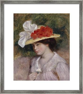 Woman In A Flowered Hat Framed Print by Pierre Auguste Renoir