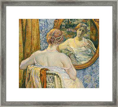 Woman In A Mirror Framed Print