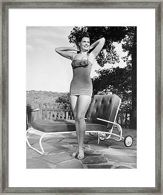 Woman In Bathing Suit Outdoors Framed Print by George Marks