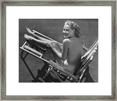 Woman In Beach Chair Framed Print by George Marks