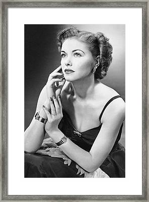 Woman In Evening Wear Framed Print by George Marks