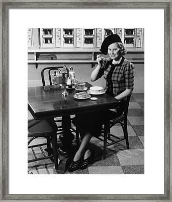 Woman In Fancy Hat Eating Breakfast In Bar, (b&w), Portrait Framed Print by George Marks