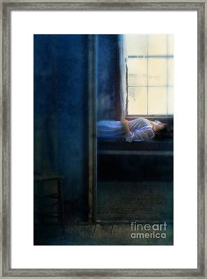 Woman In Nightgown In Bed By Window Framed Print