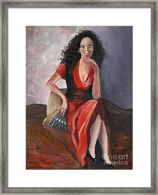 Woman In Red - Inspired By Pino Framed Print by Kostas Koutsoukanidis