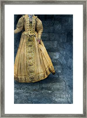 Woman In Renaissance Clothing On Stone Staircase Framed Print by Jill Battaglia