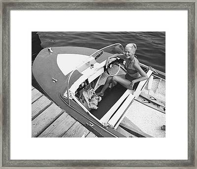 Woman In Speed Boat Framed Print by George Marks