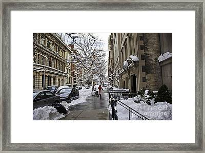 Woman In Striped Pajamas Framed Print by Madeline Ellis