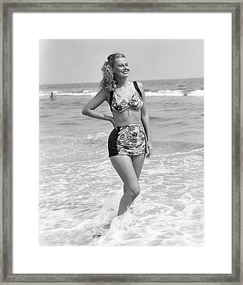 Woman In Surf Framed Print by George Marks