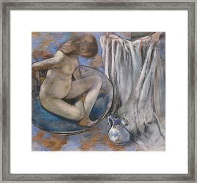 Woman In The Tub Framed Print by Edgar Degas