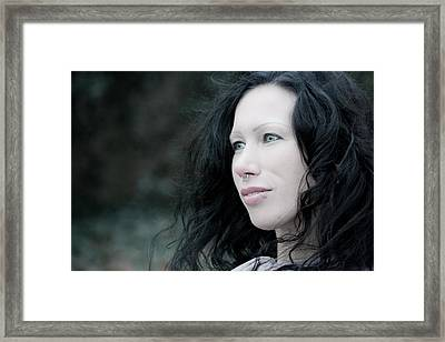 Woman In Thoughts Framed Print by Semmick Photo