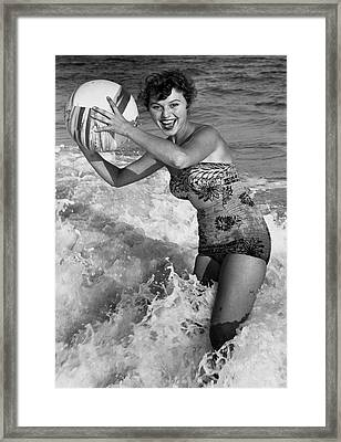 Woman In Water W/beachball Framed Print by George Marks