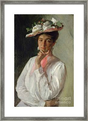 Woman In White Framed Print by William Merritt Chase