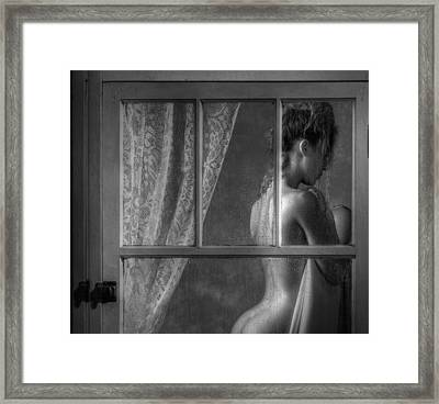 Woman In Window Framed Print by Ron Schwager