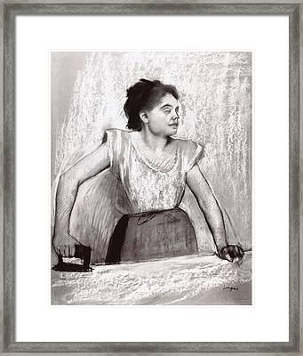 Woman Ironing Framed Print